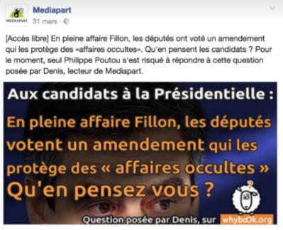 Relais des questions sur Facebook par Mediapart